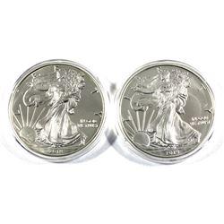 2018 & 2019 USA 1oz .999 Fine Silver Eagles. 2pcs (TAX Exempt)