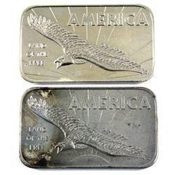 America 'Land of the Free' 1oz American Argent Mint Ltd. .999 Fine Silver Bars (Toned). 2pcs (TAX Ex