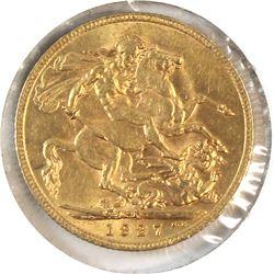 1927SA Great Britain Sovereign AU-UNC. Contains 0.2354oz fine gold.