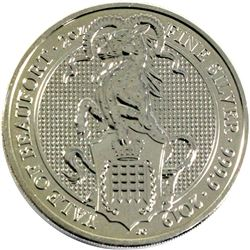 2019 Great Britain 5 Pounds Queen's Beasts - Yale of Beaufort 2oz Fine Silver Coin (Lightly Toned).