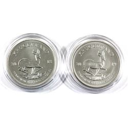 2018 & 2019 South Africa 1oz Fine Silver Krugerrands in Capsules (2018 lightly toned). 2pcs (TAX Exe