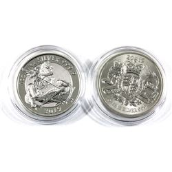 2019 Great Britain 1oz Valiant & Royal Arms .999 Fine Silver Coins (Lightly toned). 2pcs (TAX Exempt