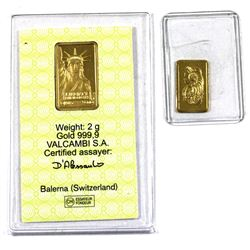 Pamp Suisse 1g & Credit Suisse 2g .9999 Fine Gold Bars. 2pcs (TAX Exempt)