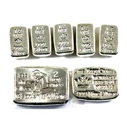 Mixed Hand Poured .999 Fine Silver Lot - 5x 1/2oz Monarch Precious Metals, 1oz Monarch Precious Meta
