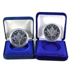 2001 & 2010 Canada 1oz .9999 Fine Silver Maple Leafs Encapsulated in Blue Display Boxes (2010 has li