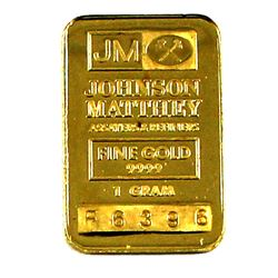Johnson Matthey 1g .9999 Fine Gold Bar. (TAX Exempt)