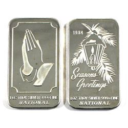Vintage National 1oz .999 Fine Silver Art Bars - Prayer & 1984 Seasons Greetings. 2pcs (TAX Exempt)