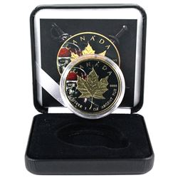 2018 Canada 1oz Pirate Skull Coloured & Gilded .9999 Fine Silver Maple Leaf in Smitty's Treasures Bl