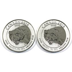 Scarce Issue 2018 Canada 3/4oz .9999 Fine Silver Wolverine. 2pcs (TAX Exempt)