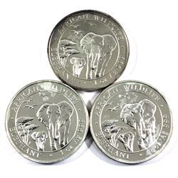 2015 Somali Republic 1oz .999 Fine Silver African Elephants (Toned). 3pcs (TAX Exempt)