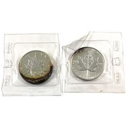 1988 & 1989 Canada 1oz .9999 Fine Silver Maple Leafs in Original Sealed Mint Plastic (Toned). 2pcs (