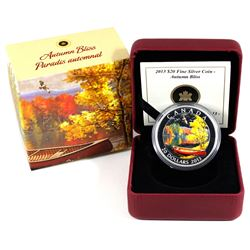 2013 Canada $20 Autumn Bliss Fine Silver Coin (Capsule lightly scratched). TAX Exempt
