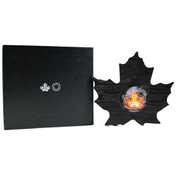 2016 $20 Canada's Colourful Maple Leaf Shaped Fine Silver. (TAX Exempt)