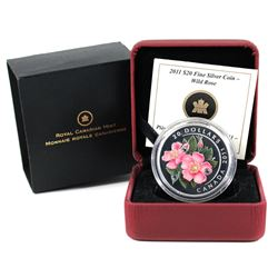 2011 Canada $20 Swarovski Crystals - Wild Rose Fine Silver Coin (Capsule scratched & sleeve lightly