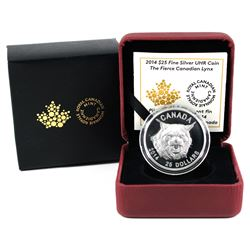 2014 $25 The Fierce Canadian Lynx Ultra High Relief Fine Silver Coin. (TAX Exempt)