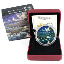 2017 Canada $30 Animals in the Moonlight - Cougar Fine Silver Coin (Capsule scratched). TAX Exempt