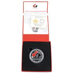 2014 Canada $20 100th Anniversary of Hockey Canada Fine Silver Coloured Coin (Capsule lightly scratc