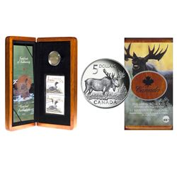 2004 Canada Coin and Stamp Sets - $1 The Elusive Loon & $5 The Majestic Moose (Loon sleeve is scuffe