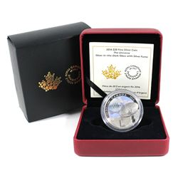 2016 Canada $20 The Universe Glow-In-The-Dark Glass with Fume Fine Silver Coin (Sleeve lightly bent)