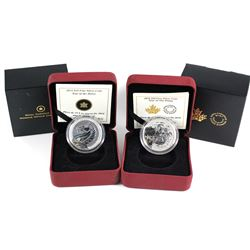 2014 Canada $10 Year of the Horse & 2015 $10 Year of the Sheep Fine Silver Coins. 2pcs (TAX Exempt)