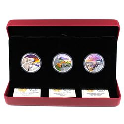 2019 Canada $20 Canadian Fauna Coloured 3-coin Fine Silver Coin Set. (TAX Exempt)