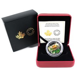 2015 Canada $20 Venetian Glass Turtle & Broadleaf Flower Fine Silver Coin.