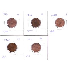 1922-1925 Key Date  Canada 1-cents: 2x 1922,2x 1924 & 1925. 5pcs