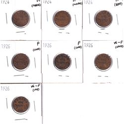 1924-1936 Canada 1-cents in Very Good to Fine Condition, coins contain various imperfections. Lot in
