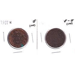 1907 & 1907-H  Canada Large cent in VF-EF & EF condition (impaired).2pcs