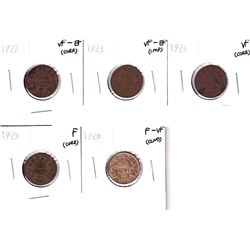 1922,1923,1924,1925 & 1926 Canada 1-cent  in Fine or Better Condition. Coin comes with various imper