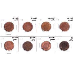 1912-1920 Canada Large cent AU-UNC ( impaired). 1912,1913,1915,1916,1917,1918,1919 & 1920 coin conta