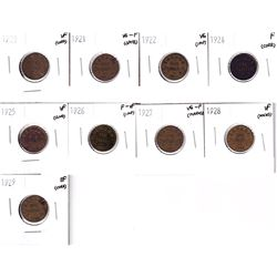 1920-1929 Canada small cent in very good or Better condition. Lot includes:  1920,1921,1922,1924,192