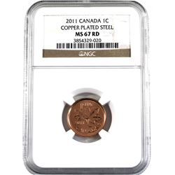 2011 Canada 1-cent NGC Certified MS-67 Red