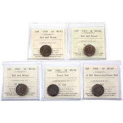 1938-1948  Canada 1-cent ICCS Certified. Lot includes 1938 MS-63 Red/Brown, 1943 MS-62 Red/Brown, 19