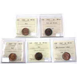 1940-1947 Canada  1-cent ICCS Certified MS-63/64. Lot includes : 1940 MS64, 1942 MS63 Red/Brown, 194