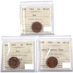 1944, 1945 & 1946 Planchet Flaw Canada 1-cent ICCS Certified MS-63. 3pcs