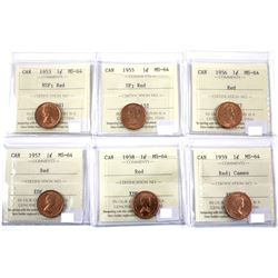 1953 NSF, 1955 SF, 1956,1957,1958 & 1959 Cameo 1-cent ICCS Certified MS-64. 6pcs