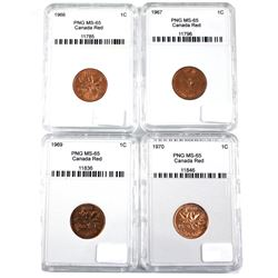 1966,1967,1969 & 1970 Canada 1-cent PNG Certified MS-65. 4pcs