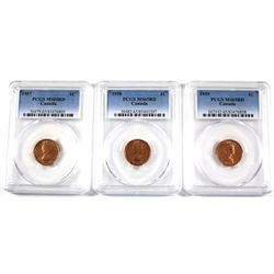 1957,1958 & 1959 Canada 1-cent PCGS Certified MS-65 Red. 3pcs