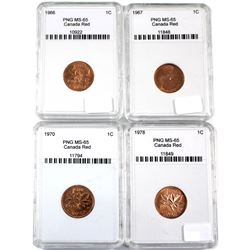 1966, 1967, 1970 & 1978 Canada 1ct PNG Certified MS-65.4pcs