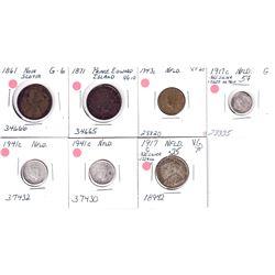 1861-1943 Maritime coins: lot includes: 1861 Nova Scotia  1-cent, 1871 PEI 1-cent, 1943C 1-cent, 191