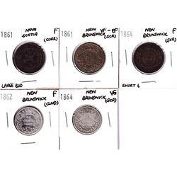 1861-1864 Nova Scotia/New Brunswick coins:1861 Nova Scotia  Large Bud 1-cent, 1861 New Brunswick 1-c