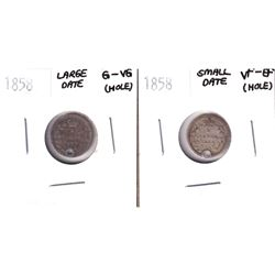 1858 Small Date 5-cent VF-EF & 1858 Large Date 5-cent G-VG (Holed). 2pcs