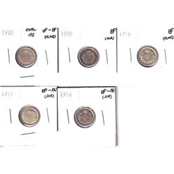 1900-1918 Canada 5-cents in VF or Better Condition. Lot includes: 1900 Oval O's VF-EF (cleaned), 190