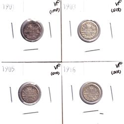1901-1916 Canada 5-cents : 1901 VF (imp), 1903 VF (scratched), 1905 VF (scratched) & 1916 5c VF (scr