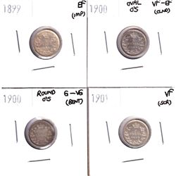1899-1901 Canada 5-cents: 1899 Canada EF (impaired), 1900 Oval O's VF-EF (cleaned), 1900 Round O's G