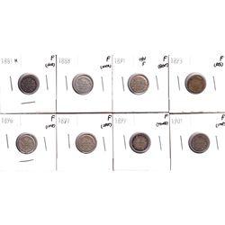 1881-1901 Canada 5-cents: 1881H F(scratched), 1888 Fine(Nick), 1891 Obverse 5 F (Bent), 1893 Fine(re