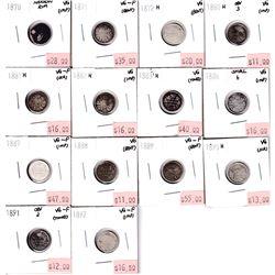 1870-1892 Canada 5-cents: 1870 Narrow Rim VG, 1871 VG-F,1872H VG, 1880H VG, 1881H VG-F,1882H VG, 188
