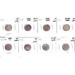 1902-1910 Canada 5-cents: 1902H Small H, 1903, 1904,1905,1906,1908 Small Date,1909 Round leaves, 191