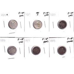 1890H, 1891 Obverse 5, 1893, 1896,1897 & 1898 Canada 5-cents F-VF. Coins contain various imperfectio
